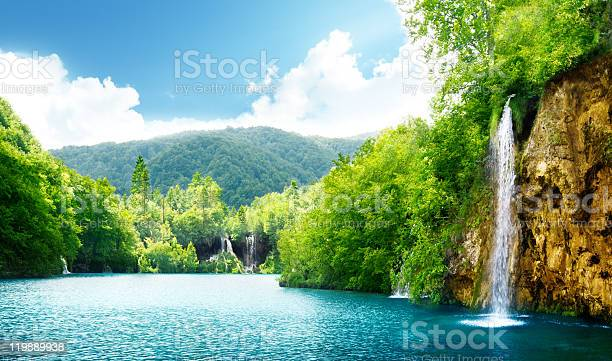 Photo of waterfall in deep forest