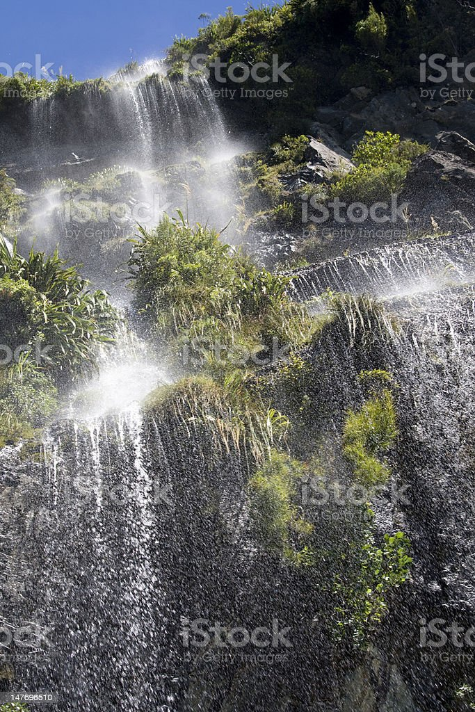 Waterfall in Doubtful sound stock photo