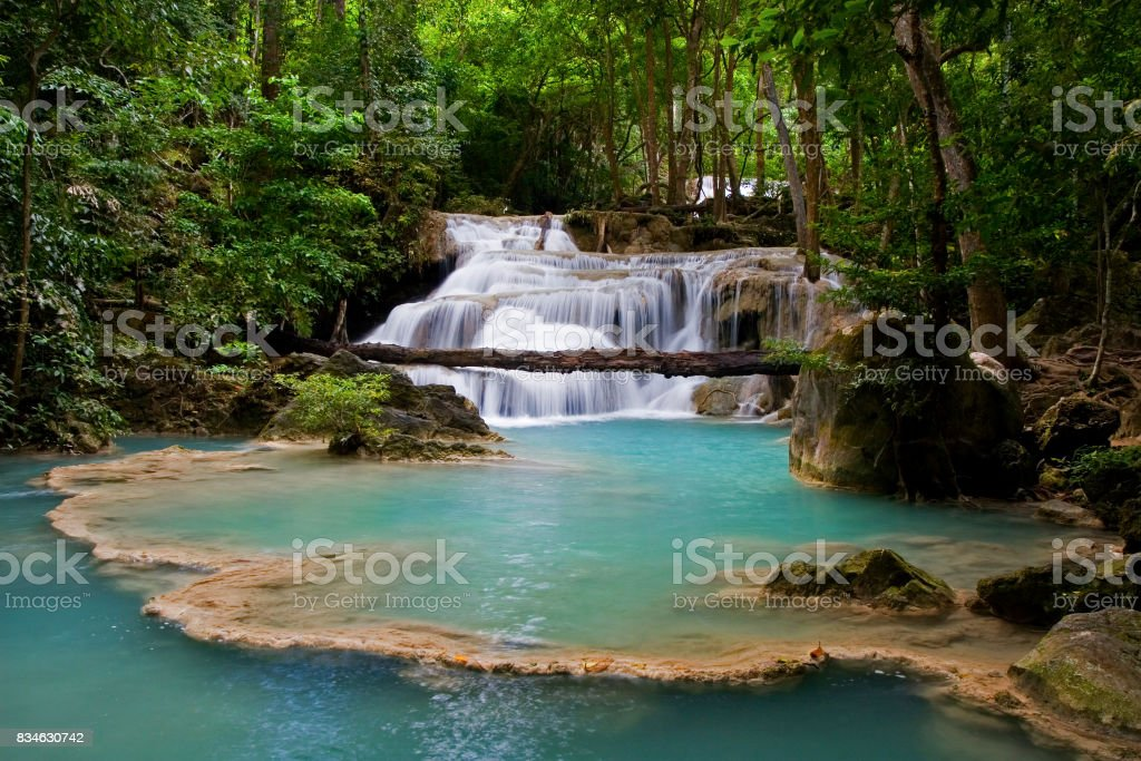 Waterfall in Erawan National Park in Thailand stock photo