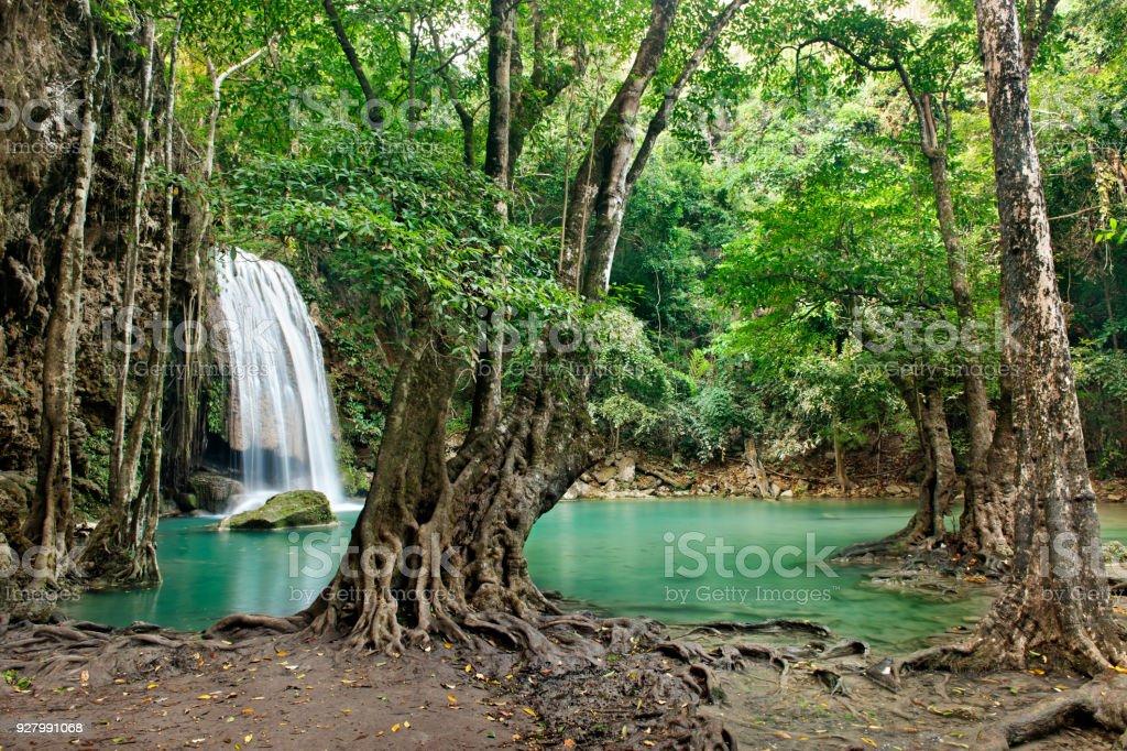 Waterfall in Erawan national park , Kanchanaburi stock photo