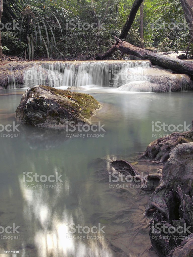 Waterfall in Erawan national park, Kanchanaburi ,Thailand royalty-free stock photo