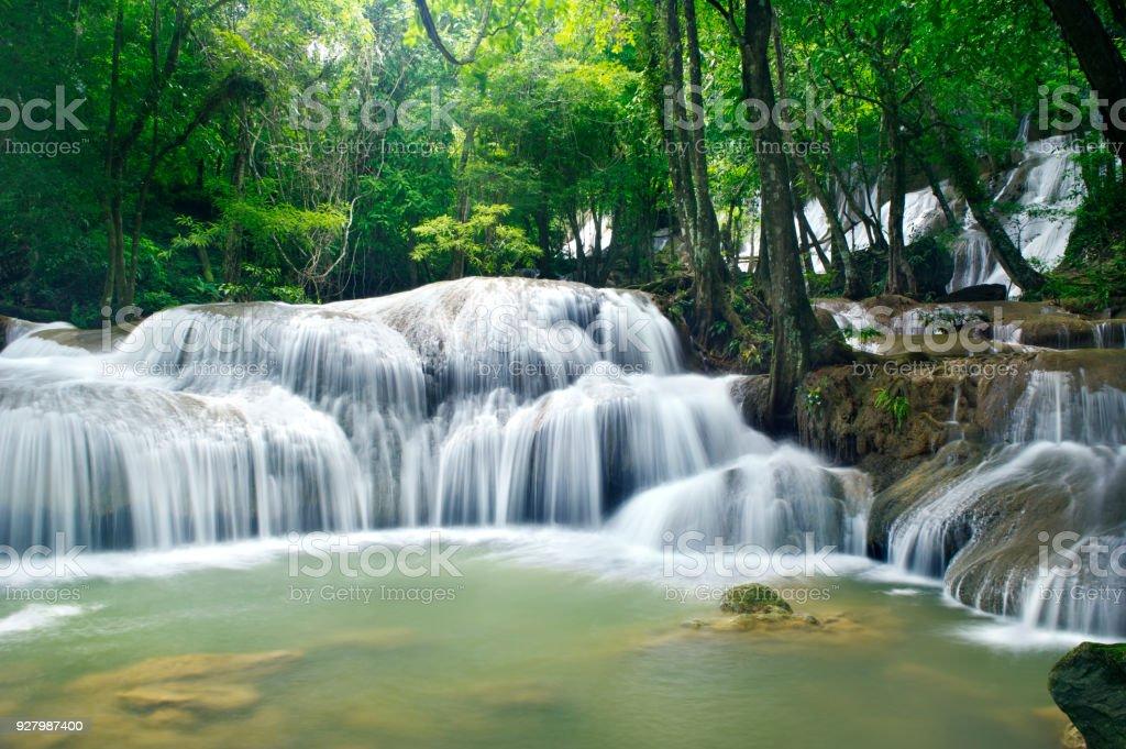 Waterfall in Erawan national park , Kanchanaburi , Thailand stock photo