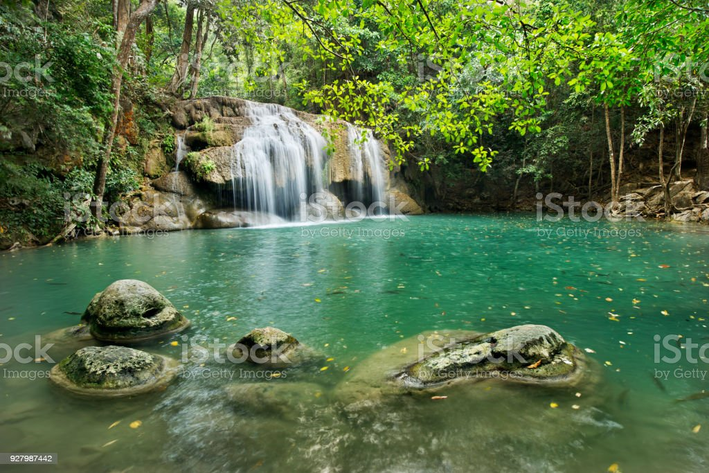 waterfall in Erawan national park , Kanchanaburi , thailand. stock photo