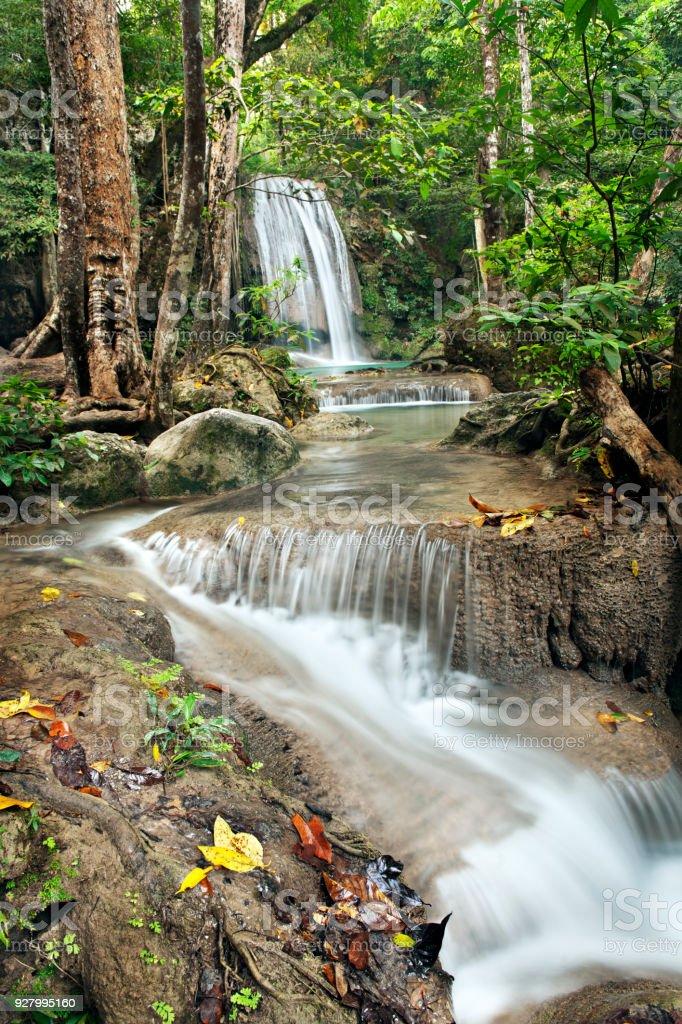 waterfall in Erawan national park, Kanchanaburi, thailand stock photo