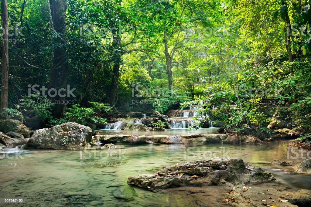 waterfall in Erawan national park , Kanchanaburi , thailand  waterfall in thai national park. stock photo