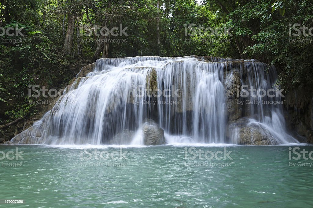 Waterfall in Erawan national park, level 2, Kanchanaburi royalty-free stock photo