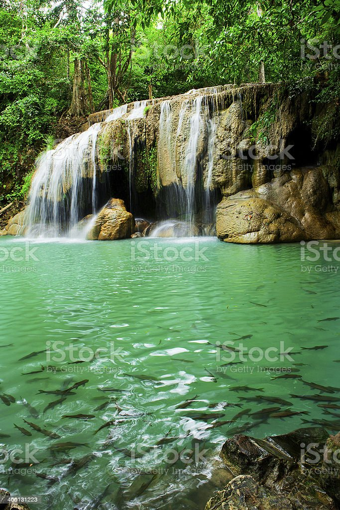 Waterfall in Erawan national park, level 2, Kanchanaburi royalty-free stock photo