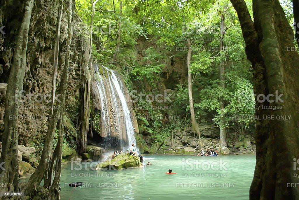 Waterfall in Erawan Park stock photo