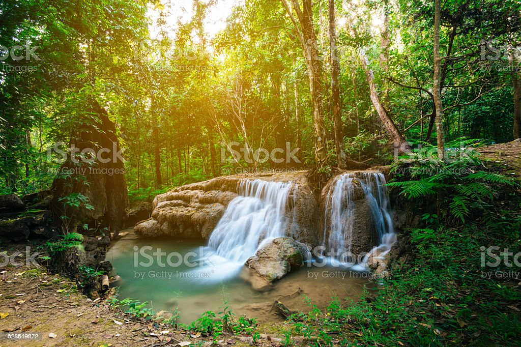 Waterfall in forest jungle. Hauy Rong Waterfall Phrae, Thailand. stock photo