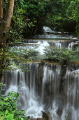 Waterfall at Kanchanaburi Province one of the most beautiful waterfall in Thailand (Huaymaekamin Waterfall )