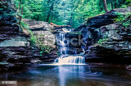 Waterfall,rushing water with pool of water in forest in summer