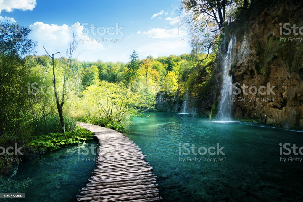 Waterfall in forest,  Plitvice, Croatia stock photo
