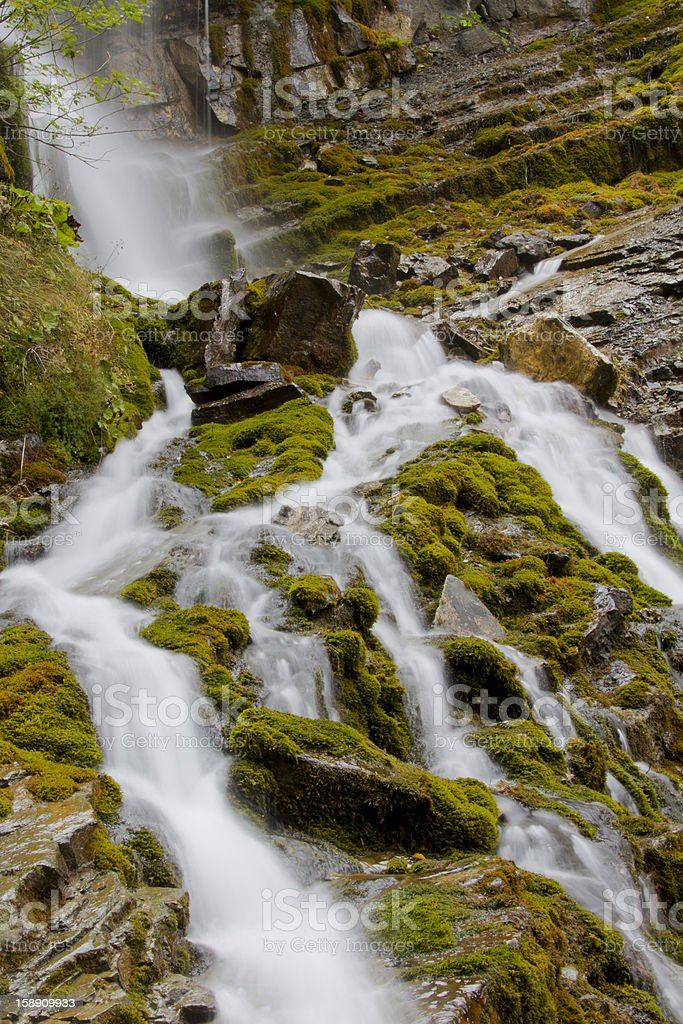 Waterfall in forest with rocks royalty-free stock photo