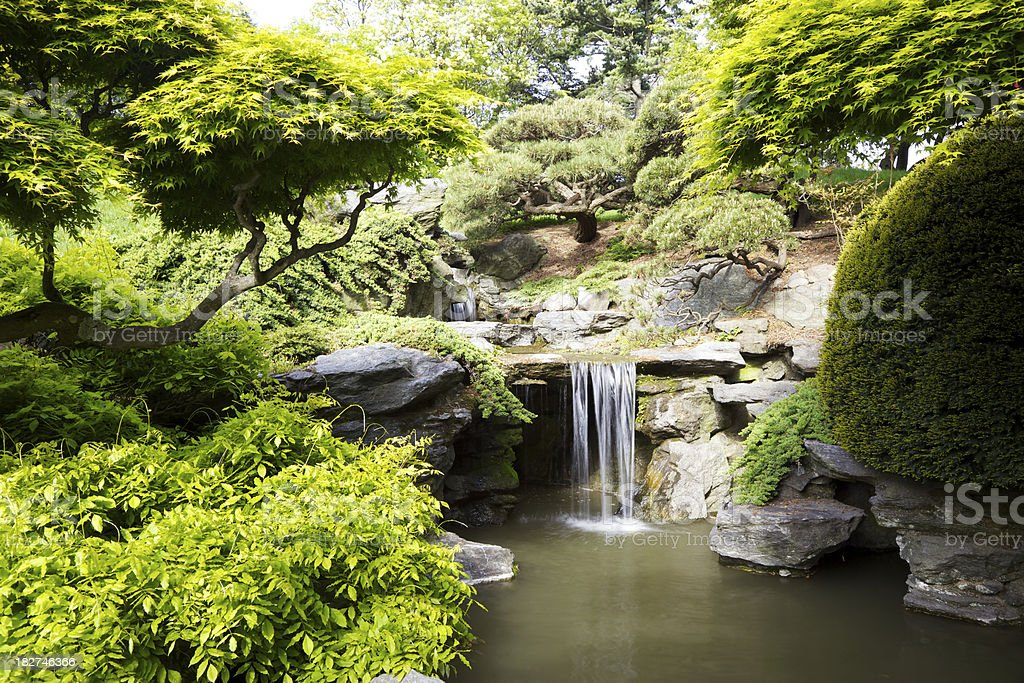 Waterfall in Garden royalty-free stock photo