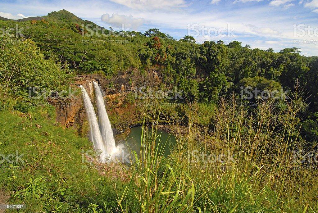 Waterfall in Hawaii stock photo