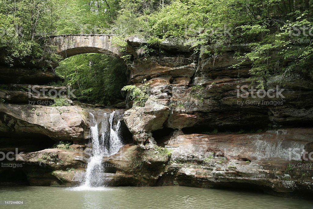 Waterfall in Hocking Hills stock photo