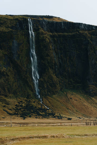 Waterfall in Iceland on a green hill stock photo