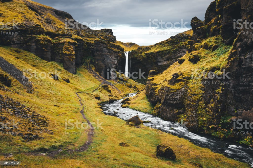 Waterfall In Iceland stock photo