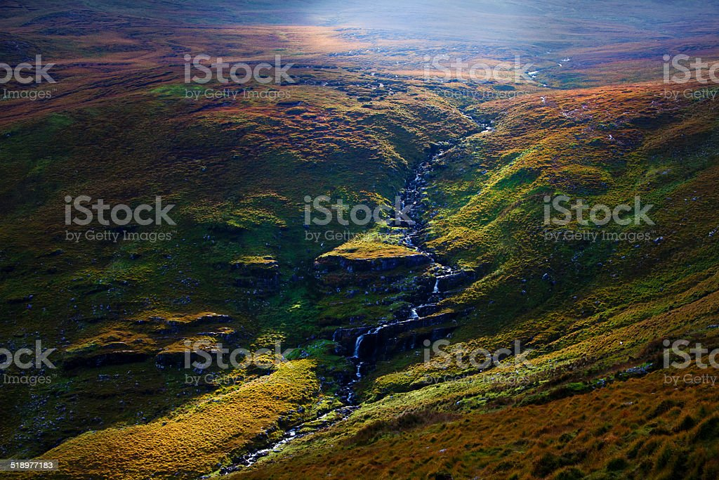 Waterfall in Kerry mountains stock photo
