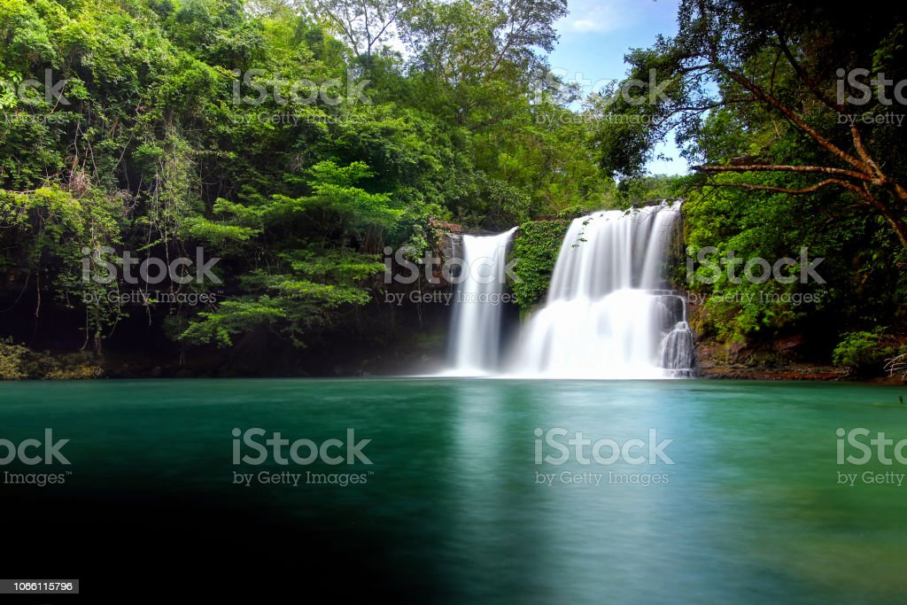 Waterfall in Koh Kood Island stock photo
