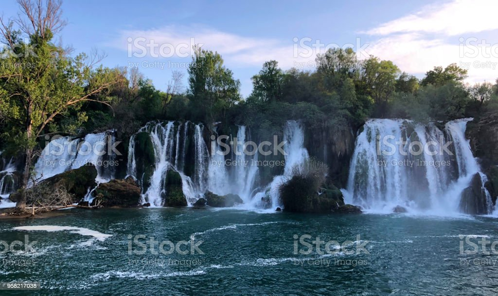 Waterfall in Kravice National Park stock photo