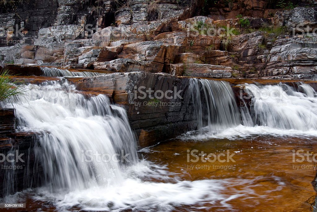 Waterfall in limestone rock stock photo