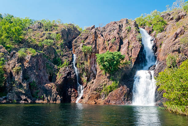 a waterfall in litchfield national park in australia - darwin stock photos and pictures