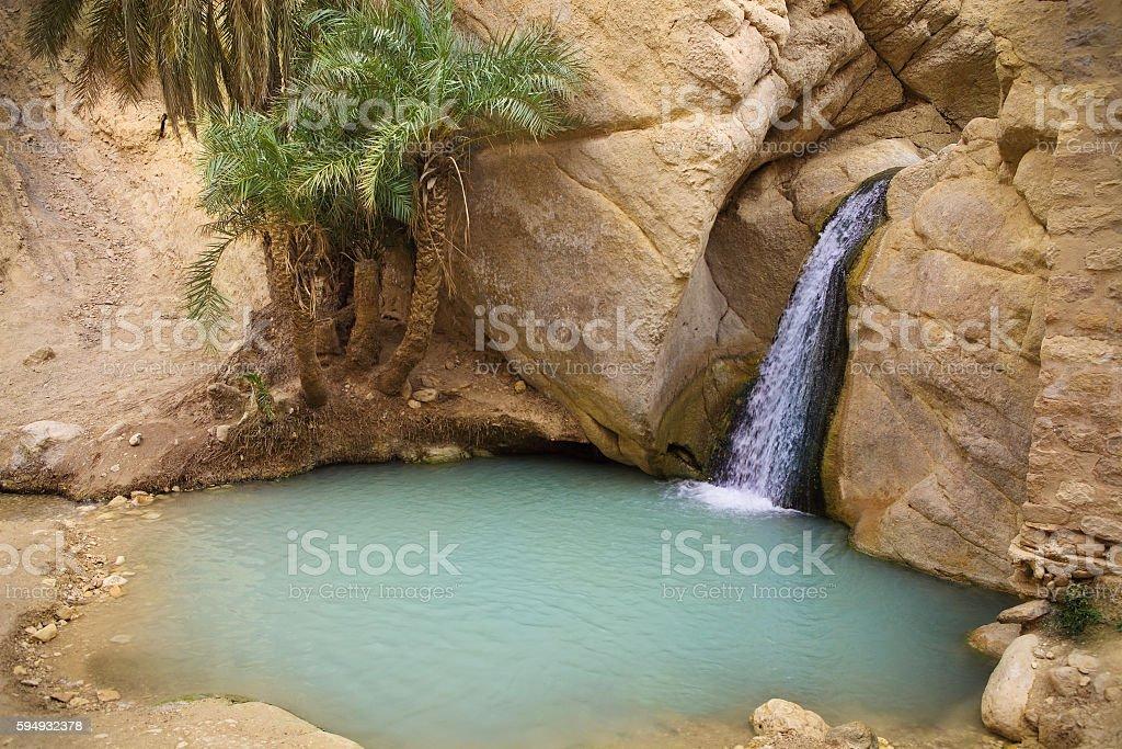 Waterfall in mountain oasis Chebika, Tunisia, Africa stock photo