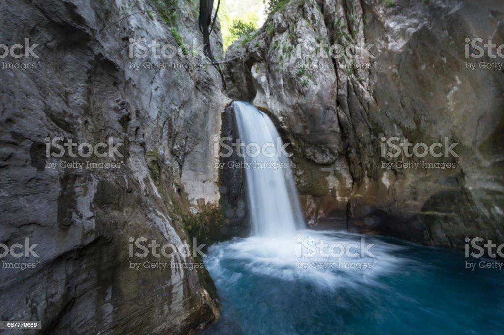 Waterfall in mountain Sapadere canyon in Turkey stock photo