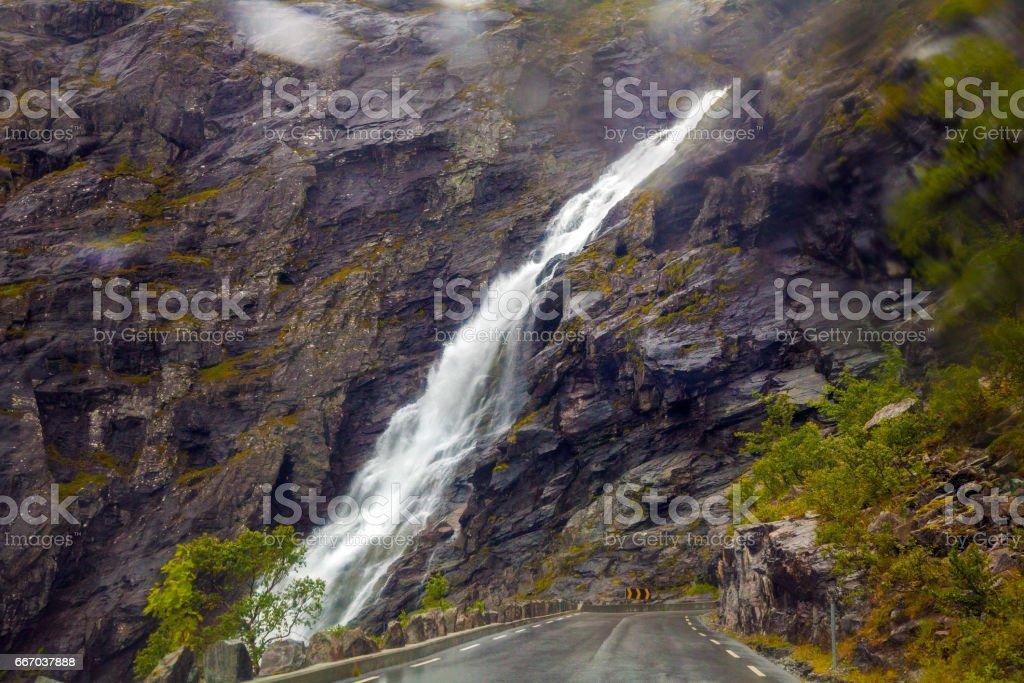 Waterfall in mountain, Trollstigen, Norway stock photo
