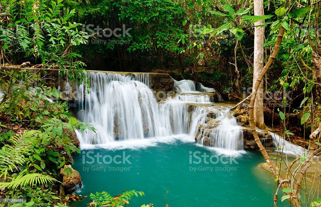 Waterfall in National Park , Kanchanaburi Province , Thailand stock photo