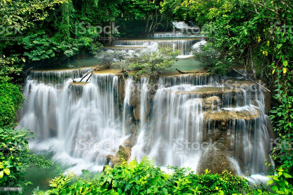 waterfall in national park , Kanchanaburi,Thailand. stock photo