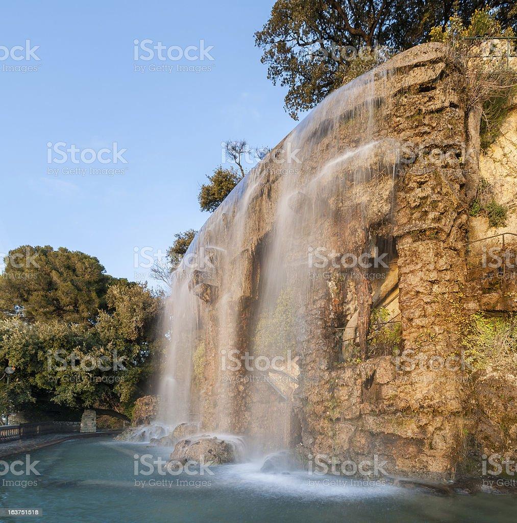 Waterfall in Parc de la Colline du Château, Nice, France stock photo