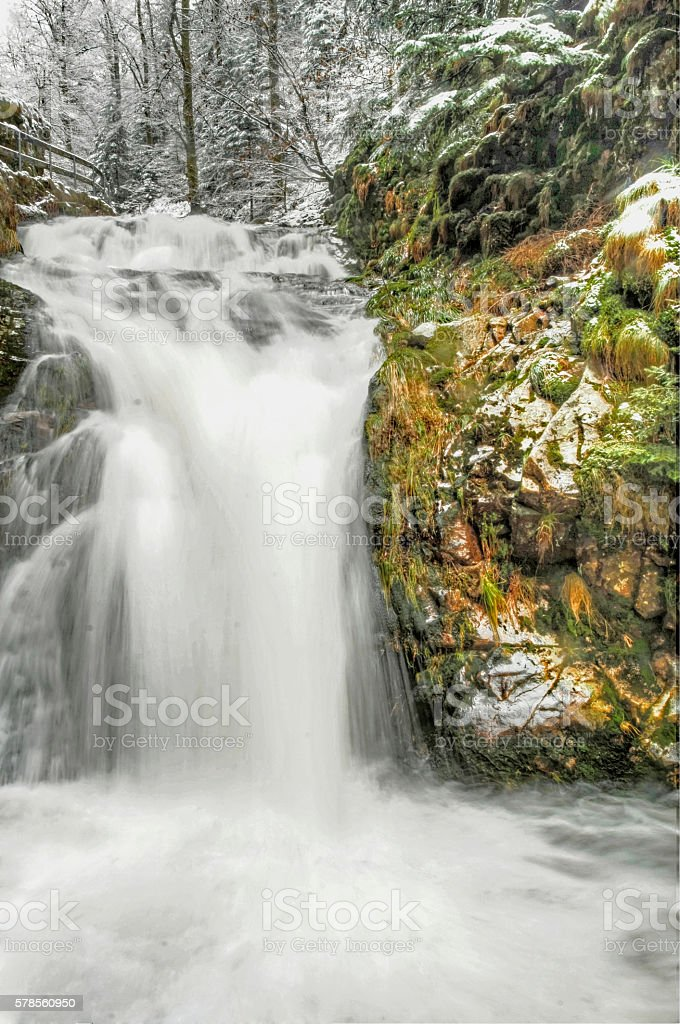 Waterfall in Renchtal in Germany's Black Forest stock photo