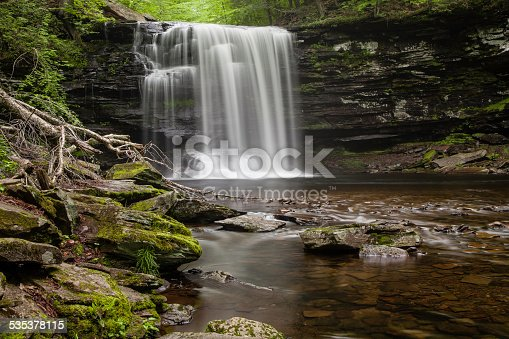 Ricketts Glen State Park is a Pennsylvania state park on 13,050 acres in Columbia, Luzerne, and Sullivan counties in Pennsylvania in the United States. Ricketts Glen is a National Natural Landmark known for its old-growth forest and 24 named waterfalls along Kitchen Creek, which flows down the Allegheny Front escarpment from the Allegheny Plateau to the Ridge-and-Valley Appalachians.