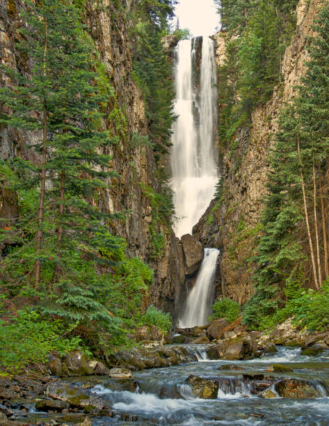 Waterfall in San Juan Mountains in Colorado Remote Waterfall in San Juan Mountains in Colorado san juan mountains stock pictures, royalty-free photos & images