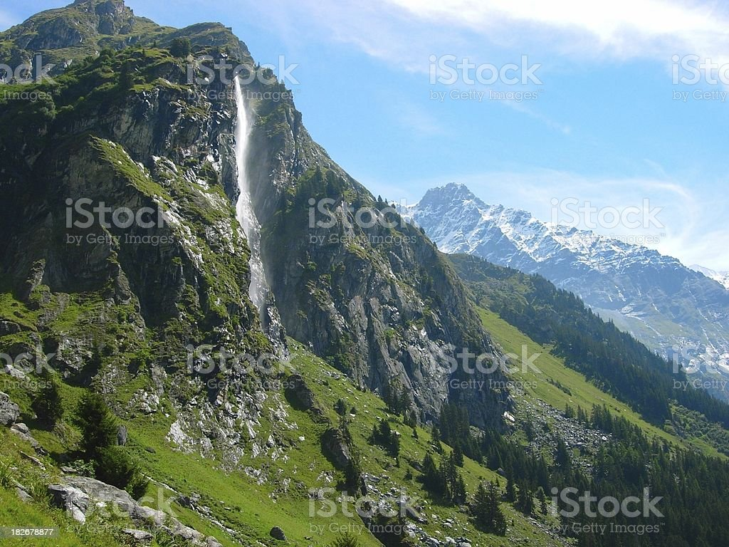 Waterfall in the Alps royalty-free stock photo