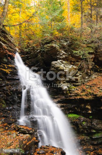 Waterfall in the Autumn woods at Ricketts Glen State Park, PA.