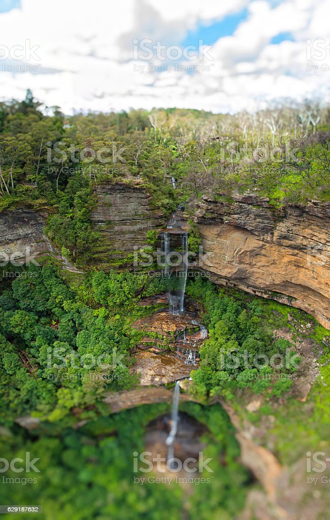 Waterfall in the Blue mountains in Australia stock photo