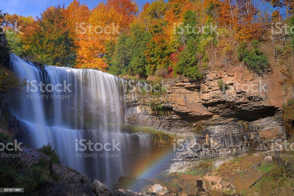 Waterfall in the Fall stock photo