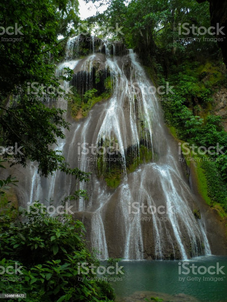 Waterfall in the forest (Bonito - Mato Grosso do Sul - Brazil) stock photo