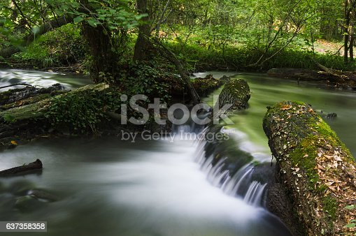 Long exposure photo of small waterfall in the forest