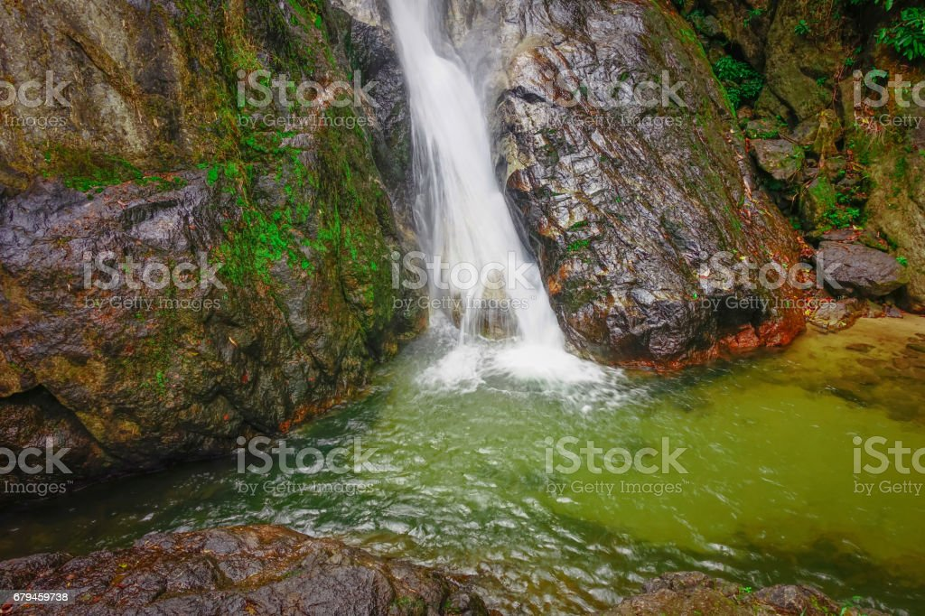 waterfall in the fresh green forest royalty-free stock photo