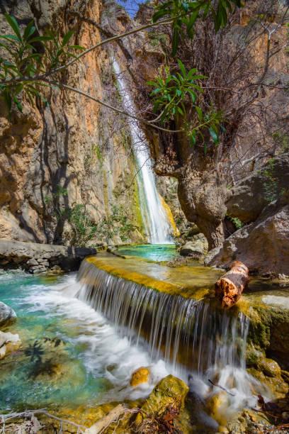 Waterfall in the gorge of Milonas near famous beach of Agia Fotia, Ierapetra, Crete, Greece. stock photo
