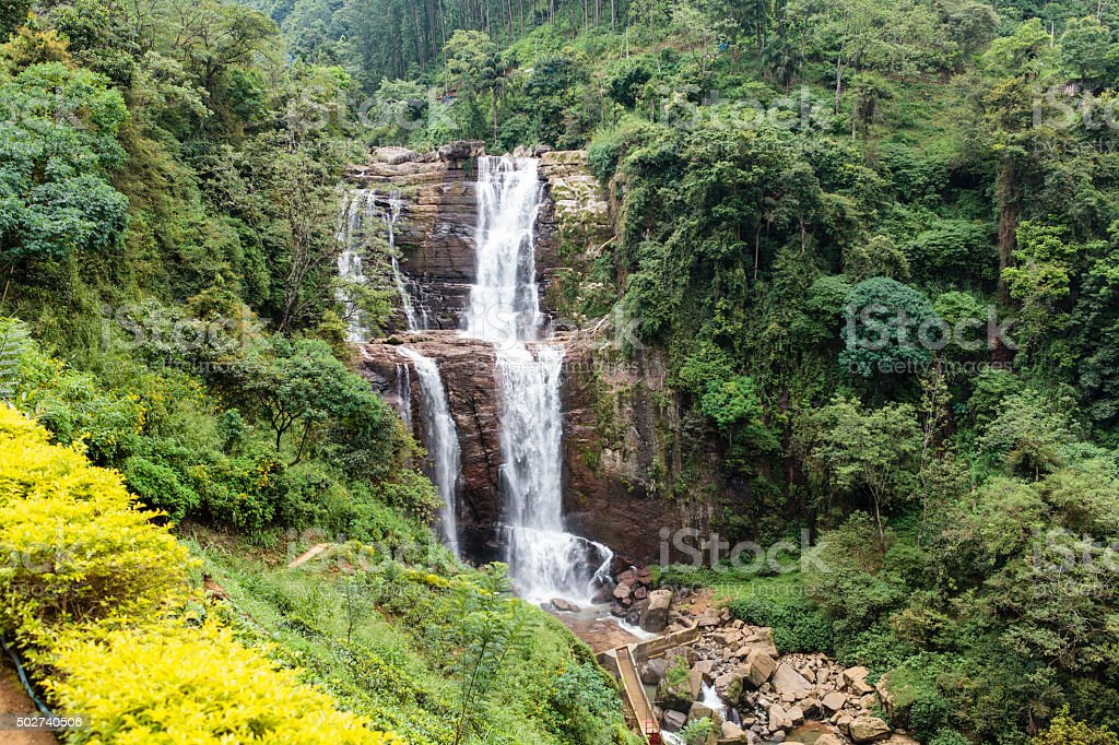 Waterfall in the Hill Country in central Sri Lanka stock photo