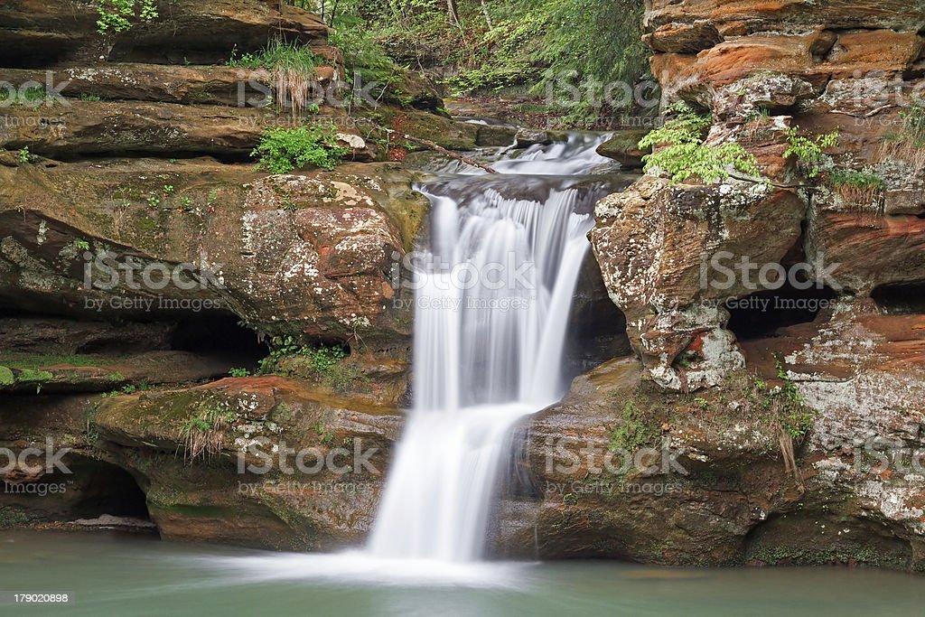 Waterfall in the Hocking Hills of Ohio stock photo
