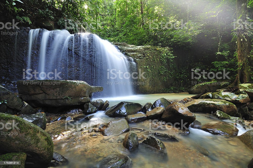 Waterfall in the jungle with early morning rays royalty-free stock photo