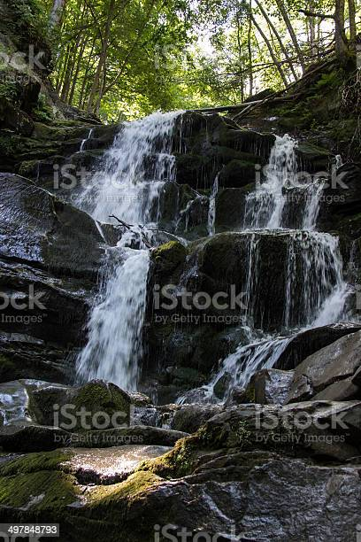 Photo of Waterfall in the mountains.