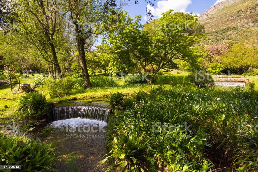 Waterfall in the Ninfa garden stock photo