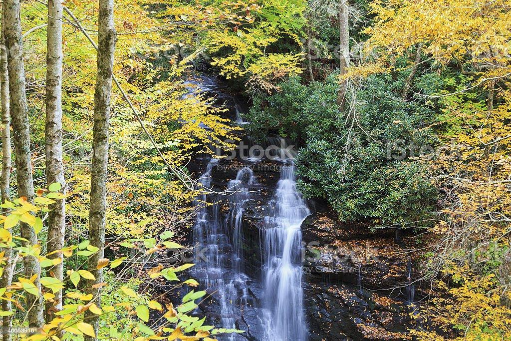 Waterfall in the North Carolina Autumn Season royalty-free stock photo